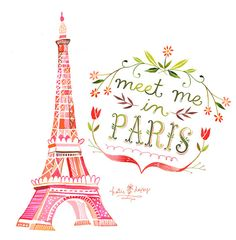 Meet Me in Paris Watercolor Quote France Hand by thewheatfield