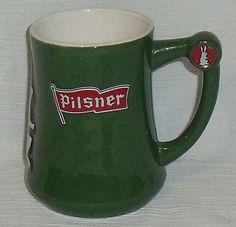 "www.jaedasplaythings.com Old Style Pilsner Beer Stein Mug Green Vtg 5"" White Rabbit Rare HTF Version"