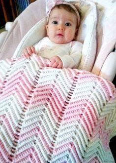 Free Crochet Pattern - Pretty in Pink Chevron Blankie