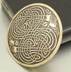 Vintage Irish Celtic Brooch Dragon Shield Love Knot Pin