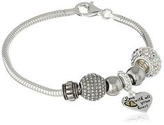 """CHARMED BEADS Sterling Silver Love With All Your Heart Bead Charm Bracelet, 7.5"""" -- Additional info @ http://www.amazon.com/gp/product/B015J1SF92/?tag=ilikeboutique09-20&st=260716204107"""