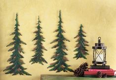 Evergreen Pine Tree Metal Wall Decor Set