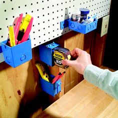 Instant Mini Bins.  Plastic junction boxes for electrical work are cheap and easy to mount anywhere. Get them at home centers.