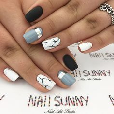 Ladies' nails have always been an important dimension of beauty and fashion. There are as many ways you could do your nails as the stars in the sky.Try these incredible black & white nail designs Blue Nails, White Nails, Acrylic Nail Designs, Nail Art Designs, Hair And Nails, My Nails, Nailart Glitter, Black And White Nail Designs, Black White