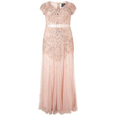 Buy Adrianna Papell Plus Size Long Beaded Dress, Blush Online at johnlewis.com