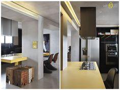 A iluminação de todo o apartamento foi feita com LED, as paredes e forros foram feitas em gesso acartonado e revestidas com cimento polimérico, o que resultou em um efeito incrível!!! A cozinha foi integrada ao living, e mais uma vez ganha destaque com  a mesa em corian amarelo.