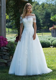 Off the shoulder tulle ball gown | Sincerity Bridal 3989 | http://trib.al/3oRmbal