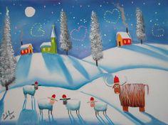 Highland cow sheep hearts winter snow scene folk oil painting Gordon Bruce art   eBay