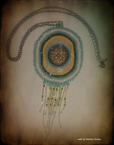 Handcrafted blue-yellow-white pendant