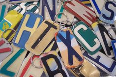 PICK Your Initial KEY CHAIN - Recycled - Repurposed - Upcycled Initial License Plate Keychain. $6.00, via Etsy.