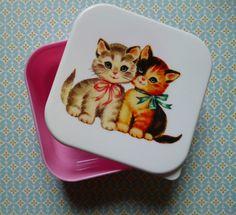 LUNCH BOX boîte tupperware RETRO CHATONS vintage mignon KAWAÏ rangement