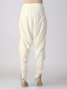 Ivory Tie-up Waist Cotton-mul Dhoti Pants Salwar Pattern, Parachute Pants, Hand Weaving, Kids Outfits, Trousers, Ivory, Indian, Tie, Cotton