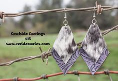 A personal favorite from my Etsy shop https://www.etsy.com/listing/270860251/leather-cowhide-earrings-purple