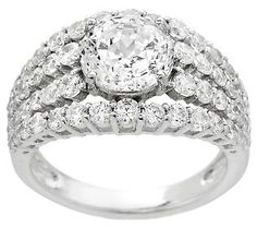 Jewelry - Epiphany Diamonique 100-Facet Multi-Row Ring - QVC.com - $66.00