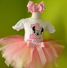 #MC Pink Polka Dot Minnie Mouse Face Birthday Tutu Outfit by PoshBabyStore.com