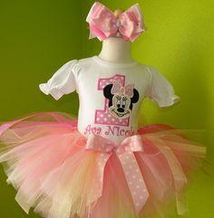 Pink Polka Dot Minnie Mouse Face Birthday Tutu Outfit @Terri Kriberney