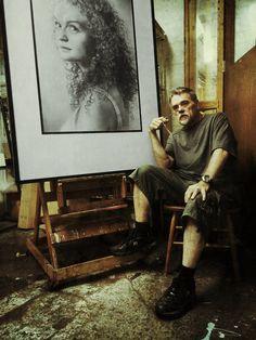 Studio Selfie with Drawing – Armin Mersmann