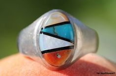 Vintage Southwestern 925 Sterling Silver Genuine Red Coral, Black Jet, Turquoise, and Mother of Pearl Man's Signet Ring