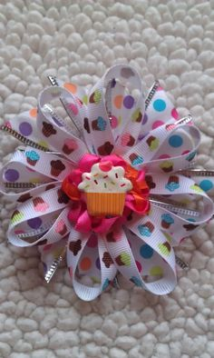 Birthday Girl Colorful Cupcake Boutique Bow by KaleighsBoutique, $5.00