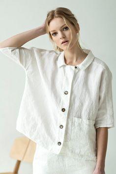 NEW White linen shirt Summer linen shirt Button linen top White Linen Shirt, Linen Blouse, Full Figure Fashion, Plus Size Shirts, Linen Jackets, Blouse Outfit, Linen Dresses, Summer Dresses For Women, Plus Size Outfits
