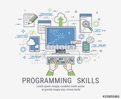 """Скачивайте роялти-фри векторное изображение """"Programming skills vector illustration for web"""", созданое Molnia по самой низкой цене на Fotolia.com. Полистайте наш банк изображений и найдите идеальный стоковый вектор для вашего маркетингового проекта!"""