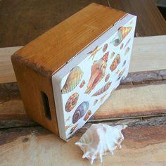 $22, Wooden box,decoupaged,shells