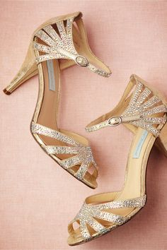 Champagne Sparkle Heels in Shoes & Accessories Shoes at BHLDN.. @Sarah Sprague think these are too busy?!
