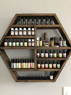 The Montreat L Hexagon Essential Oil Spice Nail Polish Shelf Storage The Montreat L Hexagon Essential Oil Spice Nail Polish Shelf Storage Lbhamilton Tiny House This Essential Oils Cleaning, Essential Oil Storage, My Essential Oils, Essential Oil Blends, Spice Nails, Spice Shelf, Nail Polish Storage, Hexagon Shelves, Natural Cleaning Products