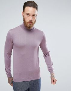 ASOS Muscle Fit Merino Roll Neck Sweater In Lilac - Purple