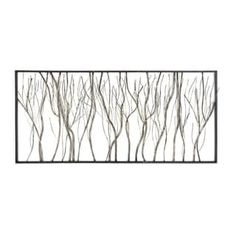 Decmode Natural Iron Twigs and Branches Wall Decor, Gray, Green