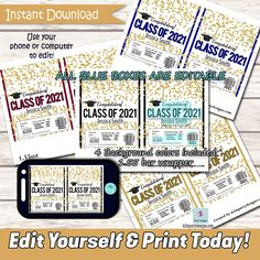 EDITABLE Graduation Candy Bar Wrapper Instant download Class Of 2021, 2022, 2023, 2024 Printable Tickets, Printable Invitations, Party Printables, Engagement Celebration, Candy Bar Wrappers, Retirement Parties, Blue Box, Printable Designs, What You Can Do