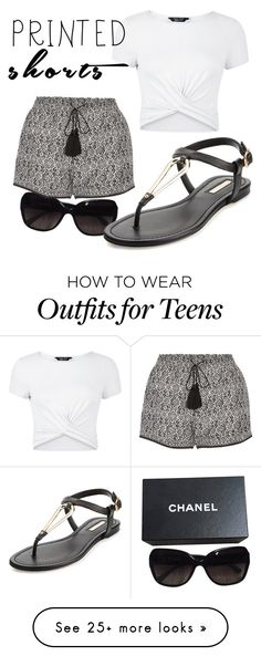 """Untitled #3"" by nsp-13 on Polyvore featuring Chanel, Talitha, New Look, BCBGeneration and printedshorts"