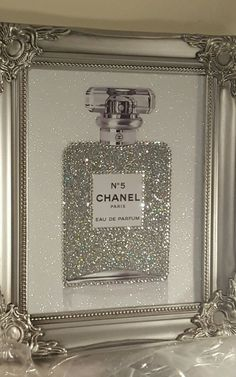 Unique 10x8 Shabby Chic Chanel No5 Canvas Print Swarovski Crystals, Glitter…