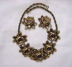 Joseff of Hollywood Water Lily Necklace and Earrings Set