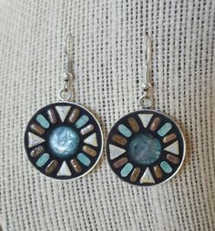 Lg round mosaic earrings by NikkiSullivanMosaics on Etsy