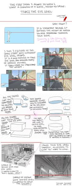 Understanding Eye Level - by Thomas Romain (one of the few foreigners working in the anime industry in Japan) Drawing Lessons, Drawing Techniques, Drawing Tips, Drawing Reference, Art Lessons, Thomas Romain, Comic Tutorial, Background Drawing, Perspective Drawing