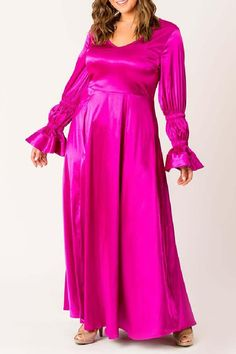 Fabric is Satin V-neck Fitted bodice flared bottom Full Sleeve with ruched gather and attached flare Back Zipper Machine wash Plus Size Party Dresses, Plus Size Outfits, Satin Dresses, Fitted Bodice, Plus Size Tops, Night Gown, Gorgeous Women, Dress Up, Clothes For Women