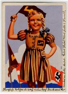 Hinein in die DEUTSCHE KINDERSCHAR - HJ-Prop-Ak der NS-Frauenschaft 1934,