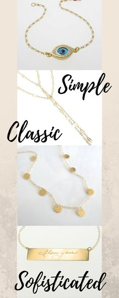 Beautiful, Simple, Classic jewelry for everyday wear. Many pieces AS SEEN on many celebrities. Personalized and handmade made to order. Would make a great gift. #ad#jewelry#personalized#gifts#celebritystyle#etsy#classic#simple#sofisticated#evileye#goldbar#lariat#kimkardashian