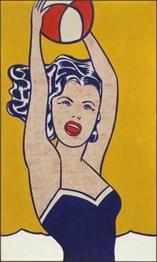 Girl with Ball - Roy Lichtenstein, Pop Art - Oil on canvas, 153 x cm. Permanent Collection of the Museum of Modern Art, New York City. Roy Lichtenstein Pop Art, Jasper Johns, Comic Kunst, Comic Art, Pop Art Girl, Up Girl, Robert Rauschenberg, Andy Warhol, Illustrations