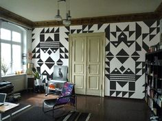 Black and White Geometric Wall Mural