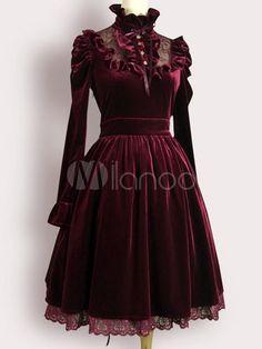 Burgundy Lolita Dress Ruffles Velvet Dress