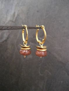 Sunstone earrings small hoops dangle earrings genuine