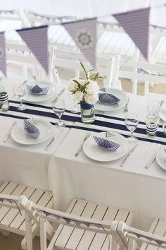 Table Setting Ideas - Nautical Baptism Party Table Tablescape Ideas | Table Scape Ideas | Table Décor | Table Setting For Lunch | Table Setting For Breakfast | Formal Table Setting | Informal Table Setting | Dinner Parties | Centerpiece | Everyday Table Setting | Candles | Plates | Flower Arrangements for Table | DIY | Holidays | Baptism