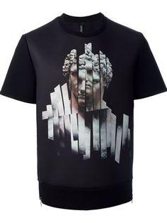 Shop Neil Barrett statue print T-shirt in O' from the world's best independent b. Shirt Print Design, Shirt Designs, Printed Sweatshirts, Printed Shirts, Sweater Shirt, T Shirt, Custom Denim Jackets, Hang Ten, Graphic Shirts