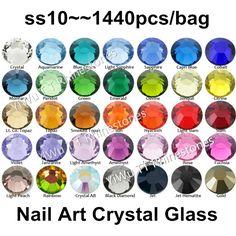 Wholesale 1440PCS SS10 (2.7-2.9mm) Multi Colors Flat Back Glue On Non Hotfix Rhinestones 3D nail art decoration glitter strass