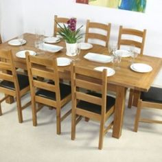 6ft Oxford Dining Room Extension Table With 8 Leather ChairsLadderOxford