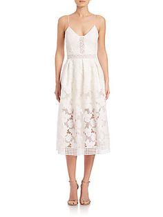 LINDSAY - NICHOLAS Floral Lace Rouleau Dress