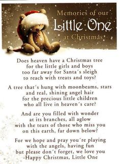 In honor of all the moms and Dad's I know this year who have lost children.  Christmas in Heaven