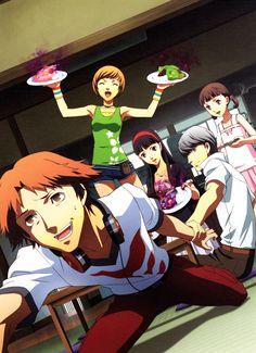 The Persona 4 crew and the terrible food Persona 5 Anime, Persona 4, Yosuke Hanamura, Atlus Games, Yu Narukami, Shin Megami Tensei Persona, Gamers Anime, Cute Anime Pics, My Buddy